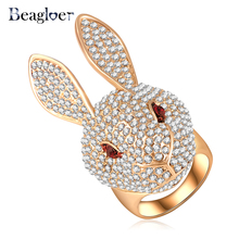 Beagloer China Wholesale Cute Rabbit Rings Fashion Gold Color Clear Austrian Crystal Animal Rings Jewelry Ri-HQ0344
