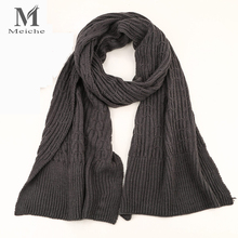 MEICHE New 2017 Fashion Winter Scarf Men Women Ladies Soild Wool Scarf Warm Female Knitting Long Shawls and Scarves(China)