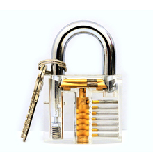1pcs Cutaway Inside View Of Practice Transparent Padlock Lock Training Skill Pick View Padlock For Locksmith With Smart Keys(China)