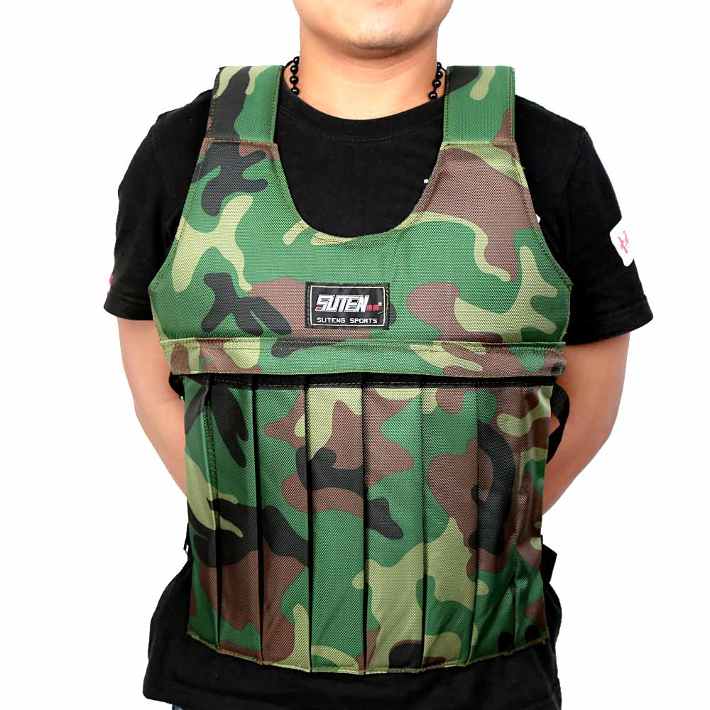 Camouflage Weighted Vest Adjustable Durable Weighted Jacket Workout Training Waistcoat Fitness Equipments<br><br>Aliexpress