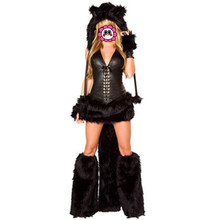 Abbille Animal Black Cat Women Costume Faux Fur Catsuit Party Fancy Dress Hat+Top+Skirt+Gloves+Foot cover 2017(China)