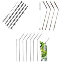 OUOH 18/8 Stainless Steel Metal Drinking Straw Set 21.5mm Reusable (Diameter 6mm) for Yeti Rtic Ozark Tumbler Cups + Clean Brush