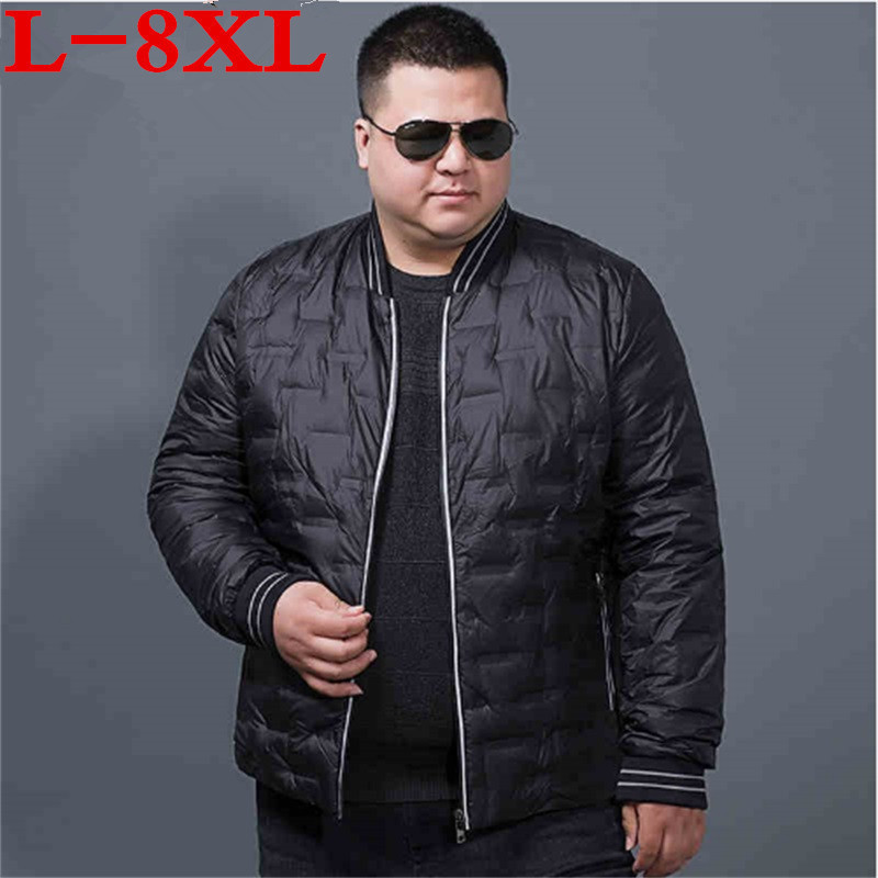 Large size 8XL 7XL 6X 5X 2018 new autum Winter Down Jacket Men White Duck Down  Ultralight Down Jacket Male Windproof Thin Light