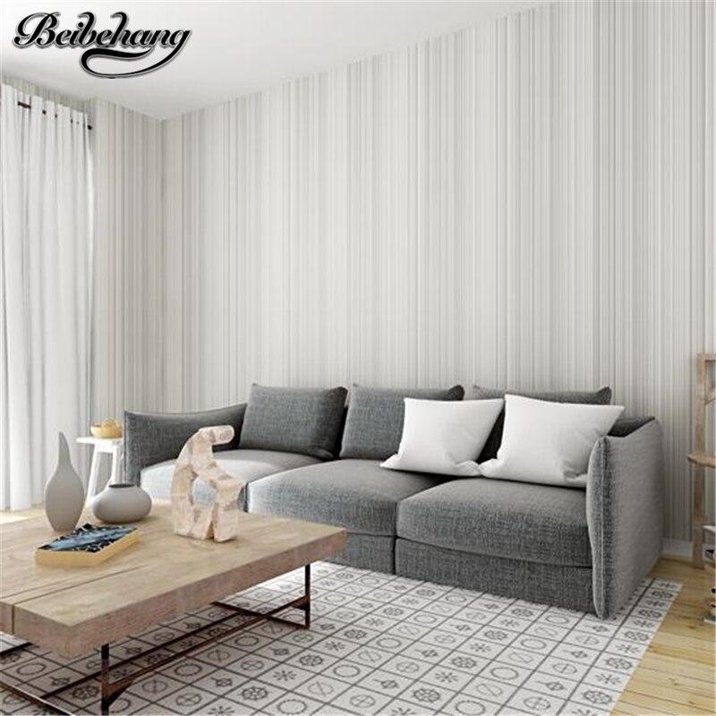 beibehang Modern Simple Pure Color Striped Nonwoven Wallpaper Living Room Bedroom TV Background Wallpaper Papel de parede<br>