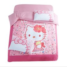 sweet hello kitty printed bedding set girl's kids duvet covers sheets twin full queen king size bed linens bedclothes 4-5 pieces