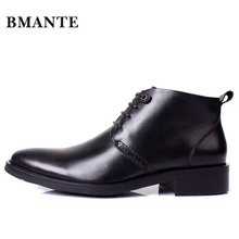 Real Leather Luxury Designer Casual Brand Male Boot Social Formal chukka Dress Shoe Chelsea Office Footwear for Men de Chaussure(China)