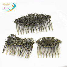 20 PCS Vintage bronze  Metal Hair Comb Claw Hairpins Free shipping DIY Jewelry Findings&Components
