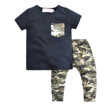 Baby Boy Clothes 2017 summer Casual Boys Clothing Set Short sleevesd + Camouflage Pants 2 Pcs Suit Infant Garment(China)
