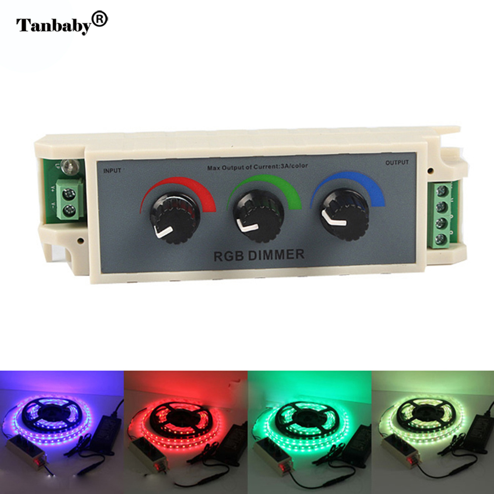 Tanbaby DC12-24V RGB LED Dimmer Controller 3 Channel LED Strip Controller For LED Strip Light 3528 5050 12V 3A(China (Mainland))