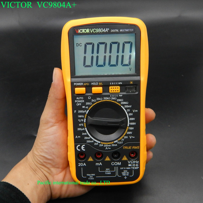 Digits Multimeter  2000 Counts Victor VC9804A+ AC DC Voltmeter Capacitance Resistance digital Ammeter Multitester<br><br>Aliexpress