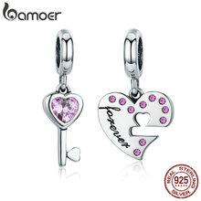 Buy BAMOER Romantic 925 Sterling Silver Lock Key Heart Pink CZ Charm Pendant fit Charm Bracelet Jewelry Girlfriend Gift SCC638 for $11.19 in AliExpress store