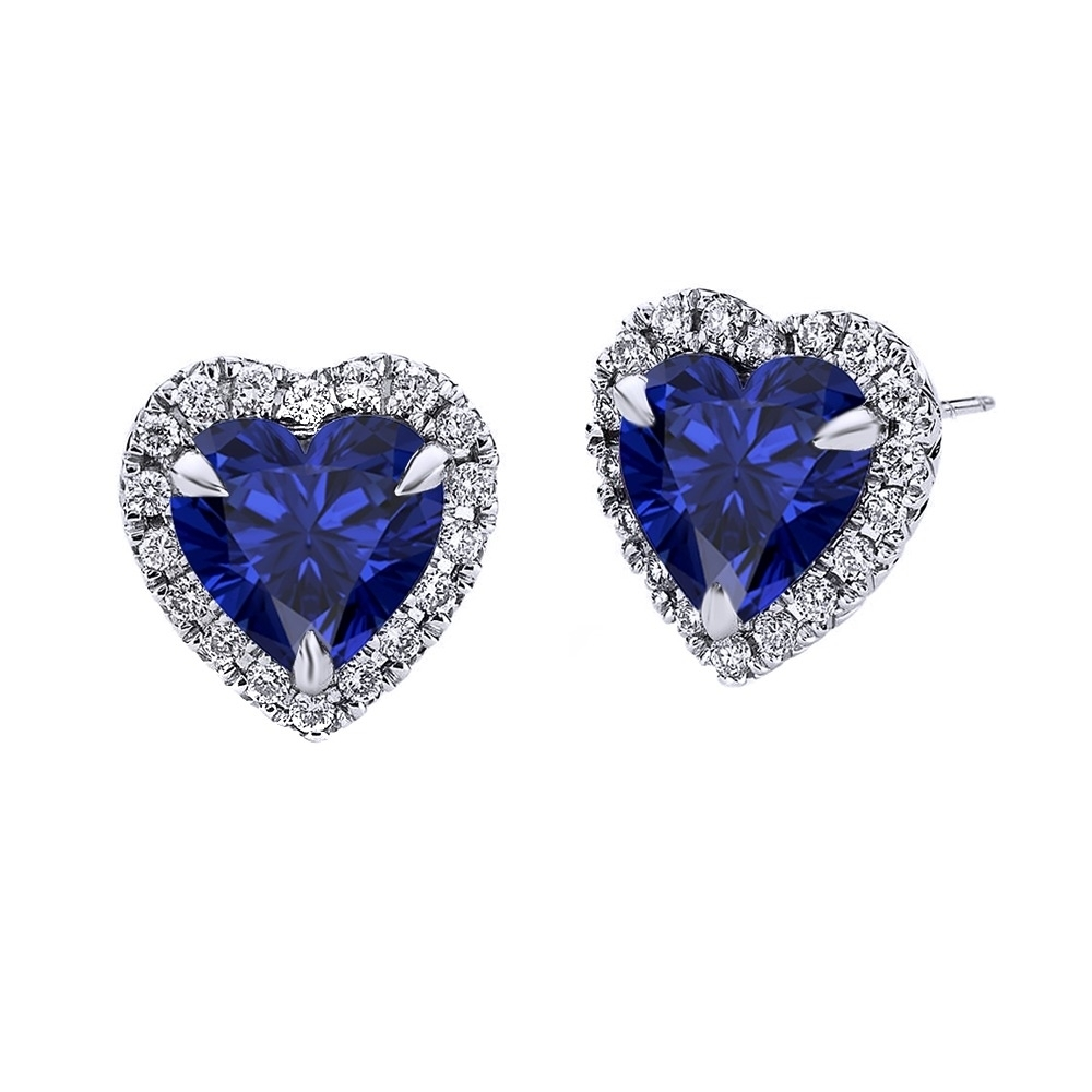 Heart Sapphire / Pave Diamond Earrings 10k White Gold (6mm) September Birthstone