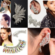Fashion Punk Crystal Ear Cuff Earrings Crystal Wing/Triangle/Water Drop Silver Plated Clip Earrings Ear Wrap Cuff Gift