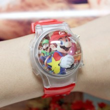 Free SHipping 10Pcs/Lot Waterball Shape Cartoon Watches For Kids Hot Super Mario Led Wristwatch with Flashing Light Kids Gifts