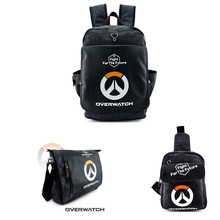 Blizzard Game OW Backpack Mochila Canvas +PU Leather Shoulder Bag Crossbody Bag Chest Pack Reaper 3 Style