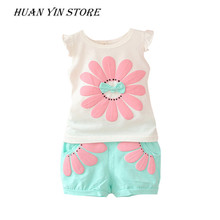 2017 Summer Toddler Baby Girl Sweet Clothing Set Sunflower Girls Clothes Sets Kids Casual Sport Suit Set