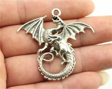 WYSIWYG 2pcs 43*46mm 3 Colors Antique Silver, Antique Gold, Antique Bronze Dragon Charms(China)