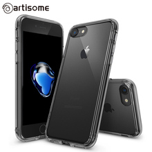 Cover Case For iPhone 7 Case Silicones Crystal Clear Protective Brand Hard Back Cover For iPhone 7 Plus Phone Cases Bumper Fusion TPU PC Coque ARTISOME(China)