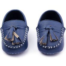 0-12M Cute Baby Girls Boys Casual Soft Sole Peas Shoes Leather Crib Shoes New(China)