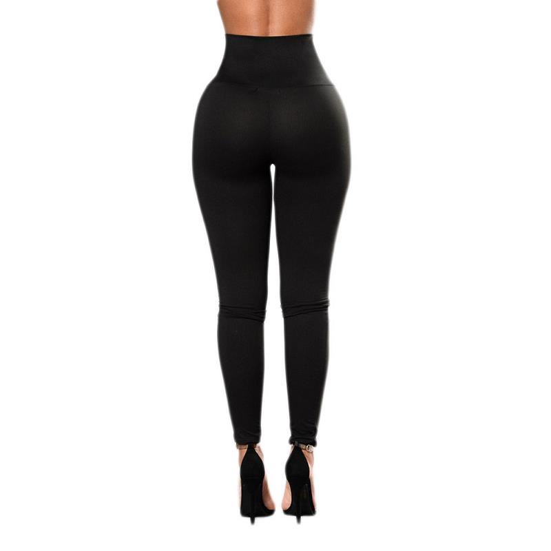 Autumn Sexy High Waist Women's Black Legging, Lace Up Wide Waist 32