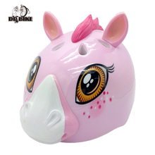Kids Bike Helmet EPS+PC Pink Horse Bicycle Helmet for Cycling Skate Outdoor Sports Cute Cartoon Design for Kids