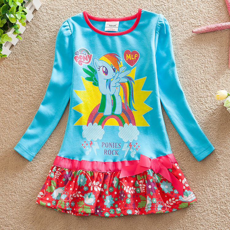 Neat new product baby girl clothes spring 2016 fashion My Little Pony printing cotton round neck long sleeve girl dress LD6659<br><br>Aliexpress