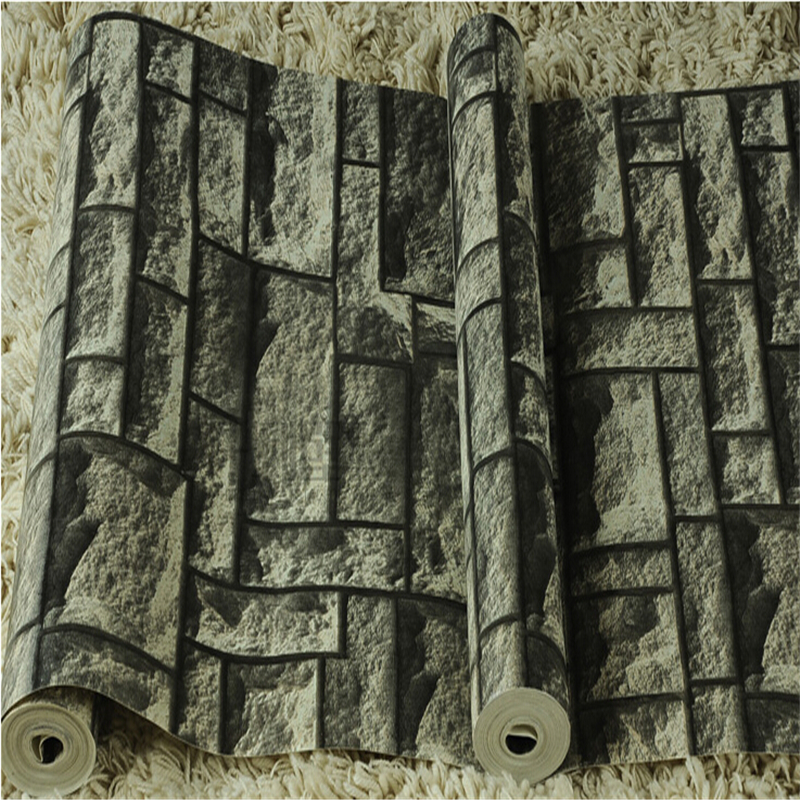 beibehang Brick Stone modern wallpaper vinyl PVC wall decor drak gray mural rolls washable wall paper papel parede TV Background<br>