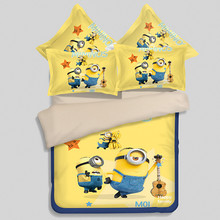 Cartoon Bedding Set 4pcs Minions Bedclothes Duvet Cover Pillowcase Children Kids twin full queen king size 3D yellow Bedding Set