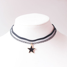 Free shipping ladies fashion jewelry retro trend black lace stretch girl neck strap short necklace star pendant