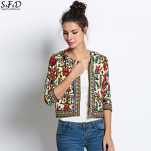 2016 Slim New Fashion Jacket Women Spring Autumn Outerwear Vintage Women Lady Ethnic Floral Print Embroidered Short Jacket