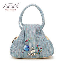 Aosbos Women Vintage Canvas Handbags Designer Peacock Pattern Evening Clutch Bags High Quality Ladies Embroidered Shell Bag Tote