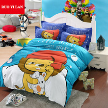 Good Night Sweet Dreams Cartoon Lionet Duvet Cover Set 100% Cotton Reactive Printing QUEEN for 1.5m/1.8m Bed Quilt Cover Sheet