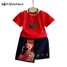 KEAIYOUHUO 2017 Summer Popular Suit Girls Wedding Birthday Party Dress Kids Red Heart K Printing Embroidery Dresses Girl Clothes