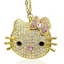 2.0 Mini Crystal Hello Kitty Cat Usb Flash Drive Jewelry Gift Fashion Pendrive 512GB Pen Drive 128GB 16GB 32GB 64GB Memory Stick