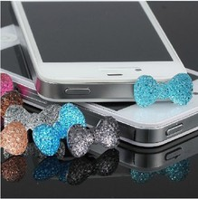 Wholesale Lovely Cute Crown 3.5mm Anti Dust Earphone Jack cell phone dust plug for iPhone for all phones 500pcs/lot