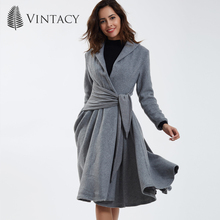 Vintacy vintage coat fashion gray autumn spring women coat office lady slim casual long coat 50s women overcoat female outerwear