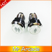 Free shipping CHROME Plated illuminated 12v LED Arcade Push Button with microswitch player 1 and 2   1pcs