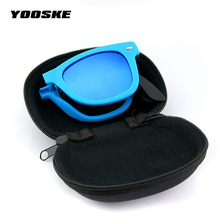 YOOSKE Foldable Sunglasses With original BOX Folding Glasses With Case Men Women Brand Design Mirrored Sun Glasses Folded