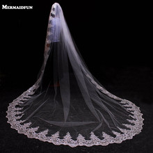 3 Meter White Ivory Cathedral Wedding Veils Long Lace Edge Bridal Veil with Comb Wedding Accessories Bride Mantilla Wedding Veil(China)