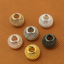 New Arrival,6pcs/lot,10x12mm Metal Shamballa Beads,Gold Silver Rhodium Alloy Beads,Braid Charm Jewelry,For DIY Jewelry Making(China)