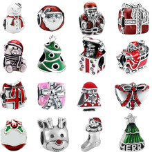 free shipping christmas gift 1pc snowmen prensent father tree big hole  bead charm fit pandora style bracelet mix005