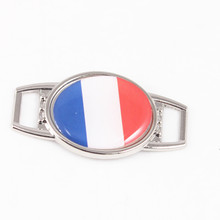 2017 Oval France Flag Pattern Shoelace Charms for Sport Shoes Outdoor Paracord Bracelet DIY Jewelry Making, Wholesale!(China)