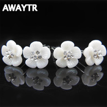 AWAYTR Prendedor De Cabelo Girls Headwear 5Pcs Girls Crystal Snowflake Wedding Headdresses Crystal Hair Accesories Para El Pelo(China)