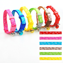 New Fashion Nylon Pet Collar Star Printed Puppy Cat Necklace Small Dog Collar with Bell