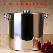 High Quality Stainless Steel Pots 30cm~60cm 2MM Thicken Soup Pot Panela Large Capacity Suitable For Gas Cooker Hotel Kitchenware(China)