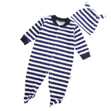 Newborn Boys Girls Polo Baby Jumpsuit Climbing Clothes Romper Hoodie Striped