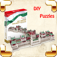 New Year Gift Magyar Parlament Epulete 3D Puzzles House DIY Decoration Assemble Game Education Toys For Adult IQ Training Model