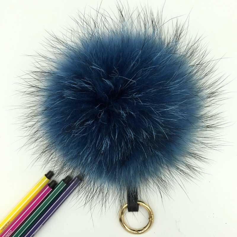 raccoon fur pompom blue 1
