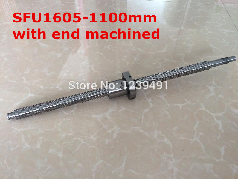 1pcs SFU1605 -1100mm Ball screw + 1pcs ballnut + end machining for BK/BF12 standard processing RM 1605-c7<br>
