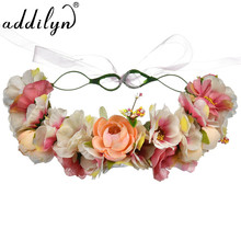 2018 New Arrival Satin Fabric Floral Headband polyster Flower Hair Clip For Women 5 colors Available(China)